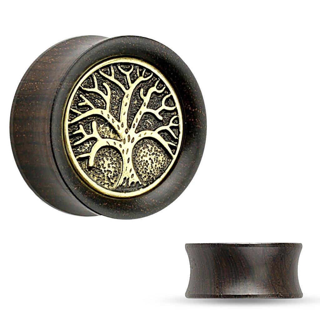 Bodyj4You orgánico sólido madera árbol de la vida sillín tapones medidores 2 g-25 mm (2 piezas): Amazon.es: Joyería