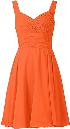 Ladsen Womens V-Neck Chiffon Bridesmaid Dresses Short Prom Gown L238 Orange US0 Size