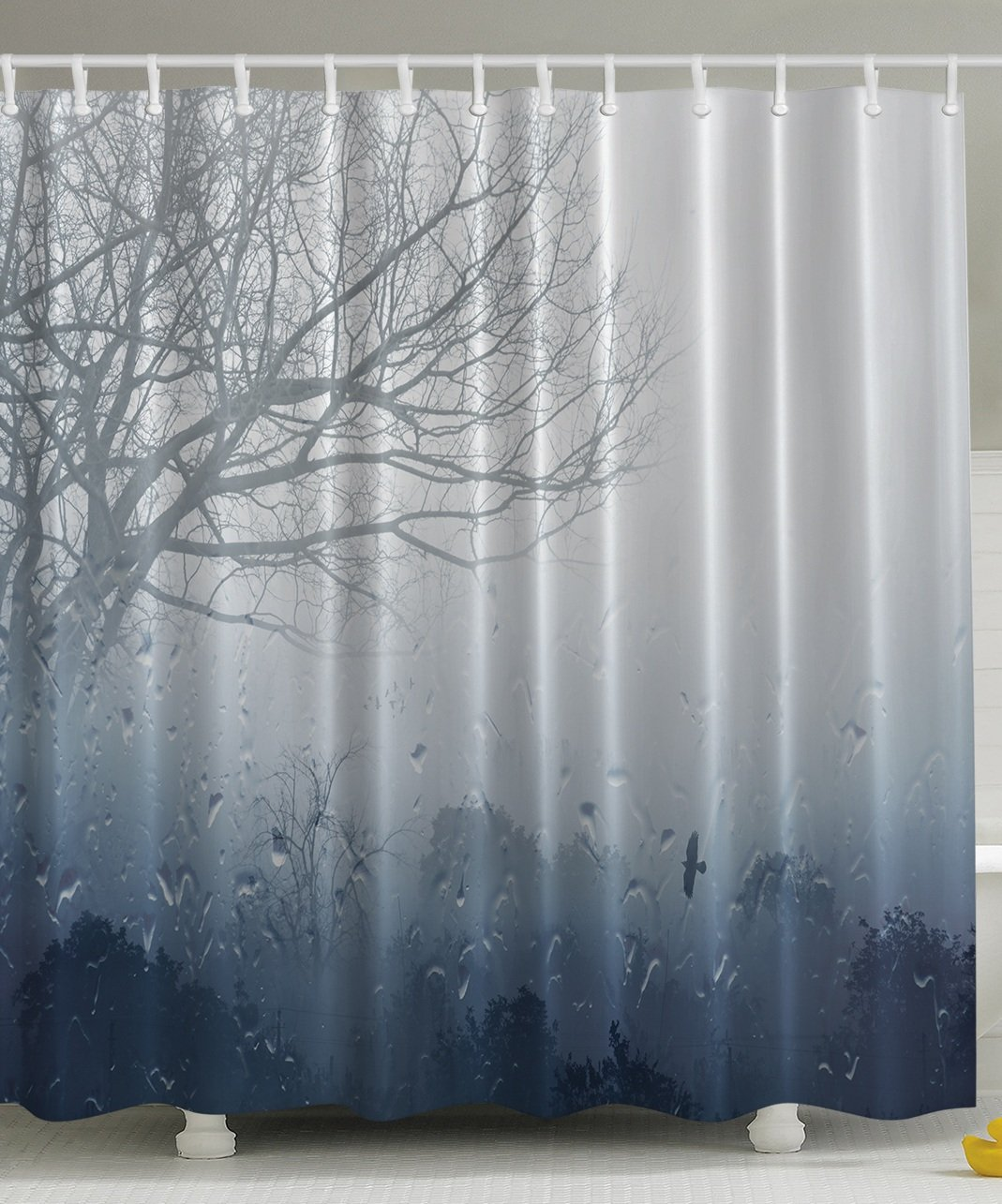 Romantic shower curtain -  Art Prints Romantic Window Water Drops View Melancholia Therapy Lonely Tree Unique Bath Decor Polyester Fabric Shower Curtain Gray Denim Home Kitchen