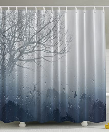 Ambesonne Rainy Scene Mystic Foggy Forest Abstract Artwork Art Prints Romantic Window Water Drops View