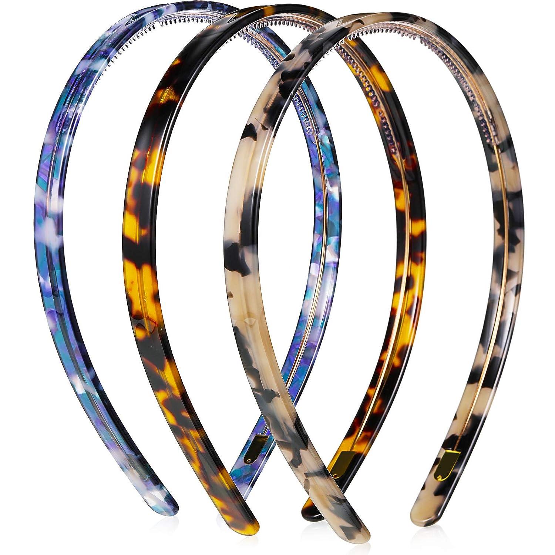 Three Headbands Tortoise Shell Yellow Orange Solid Black Wavy Plastic Flexible