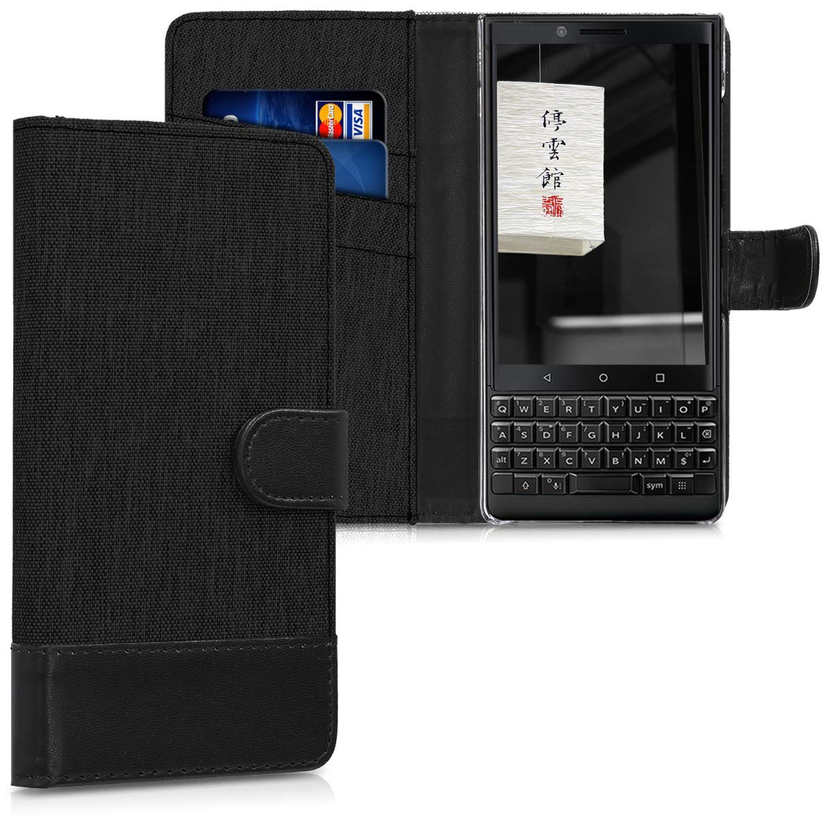 kwmobile Wallet Case for BlackBerry KEYtwo (Key2) - Fabric and PU Leather Flip Cover with Card Slots and Stand - Anthracite Black KW-Commerce 45436.73_m001162