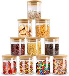 ZPGXLRZ 10 Piece Glass Storage Jars Set with Airtight Bamboo Lids, 6oz Glass Spice Jars-Mini Food Storage Containers for Home Kitchen, Tea, Herbs, Sugar, Salt, Coffee, Flour, Herbs, Grains