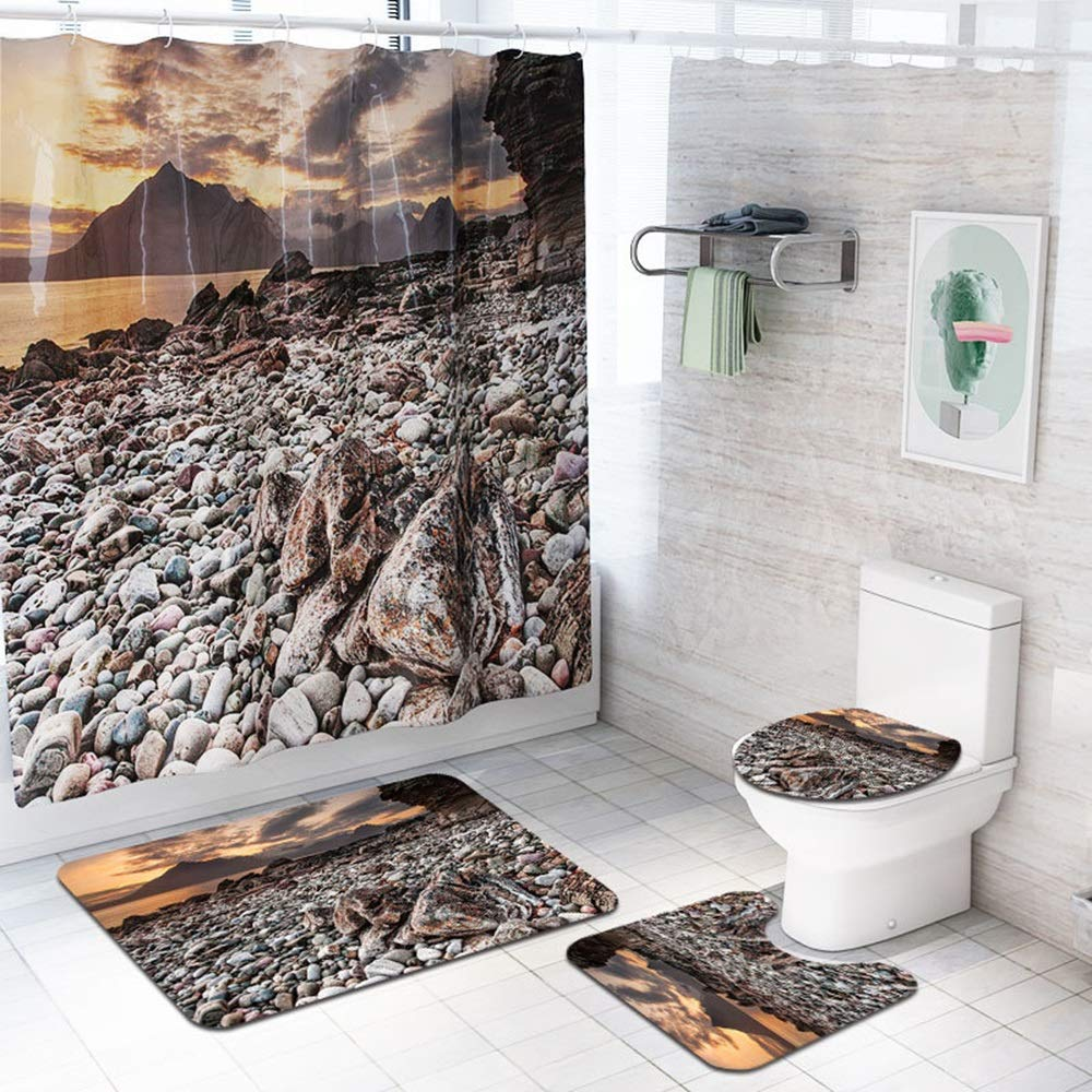 ETH Beach Stone Pattern Shower Curtain Floor Mat Bathroom Toilet Seat Four-Piece Carpet Water Absorption Does Not Fade Versatile Comfortable Bathroom Mat Can Be Machine Washed Durable by ETH