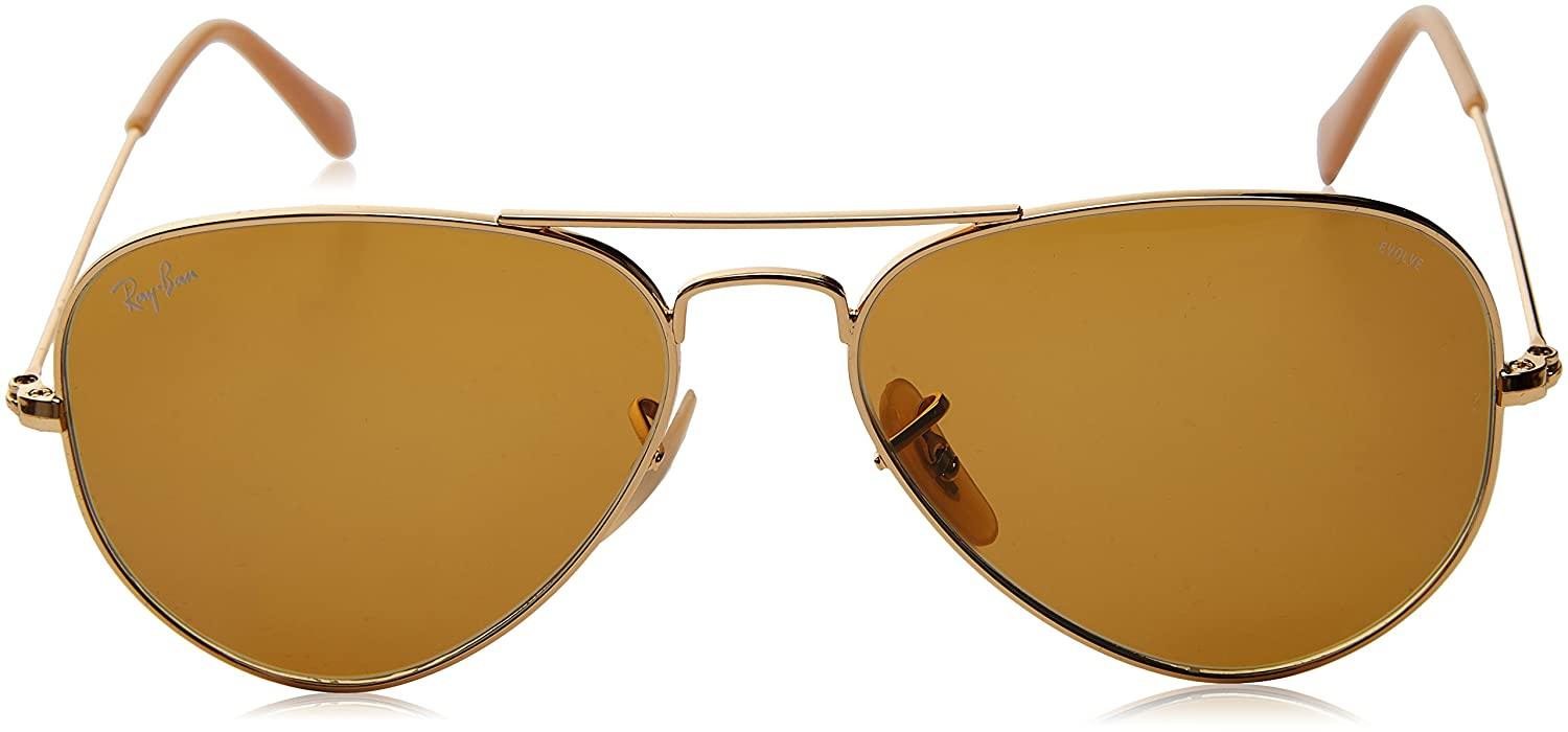 Ray-Ban Aviator Large Metal, Gafas de sol para Hombre, Dorado (Brown Photocromic), 55