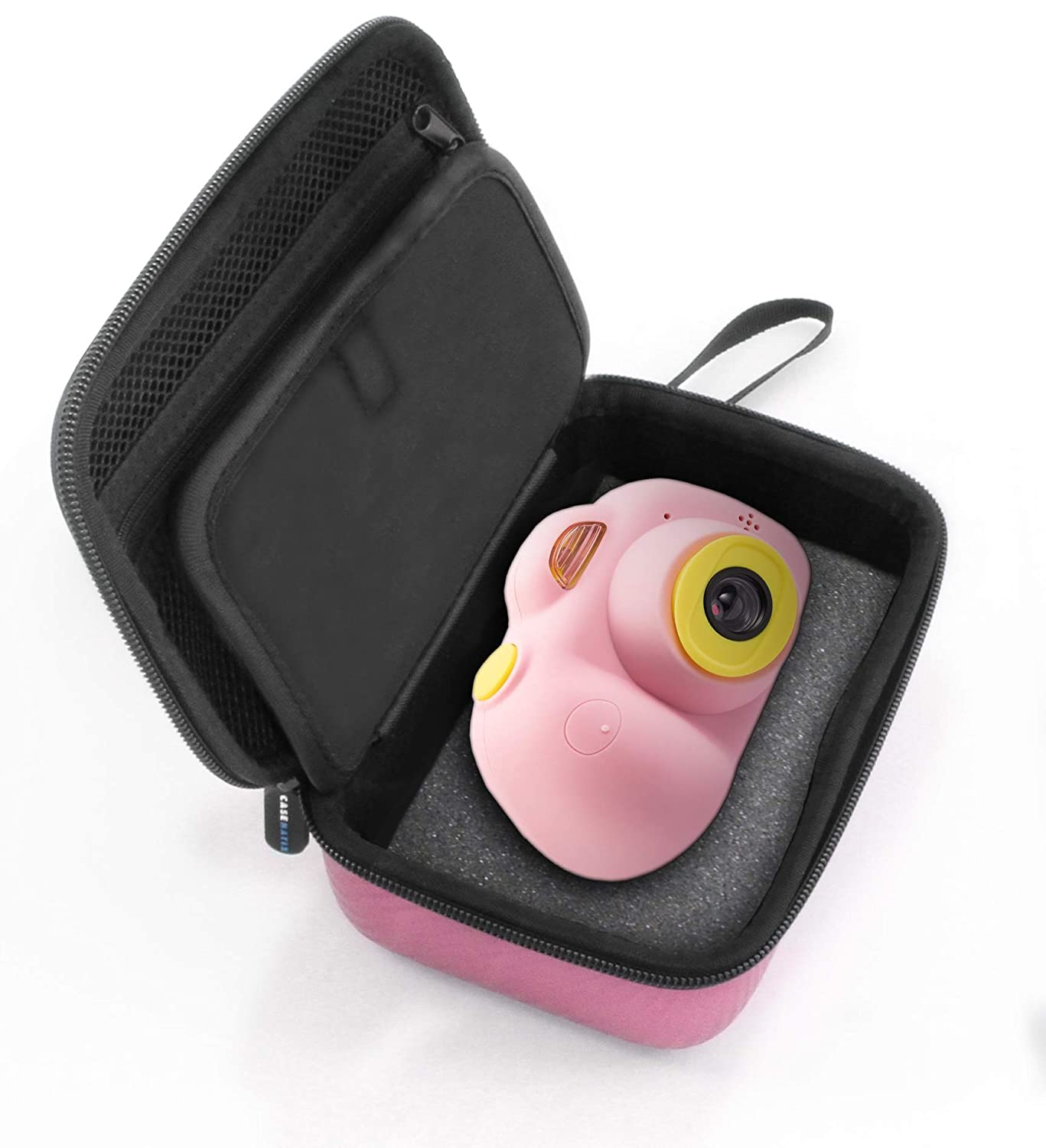 CASEMATIX Pink Kids Camera Case Compatible with The Omzer Kids Toy Camera and Kids Toy Accessories Includes CASE ONLY with Wrist Strap