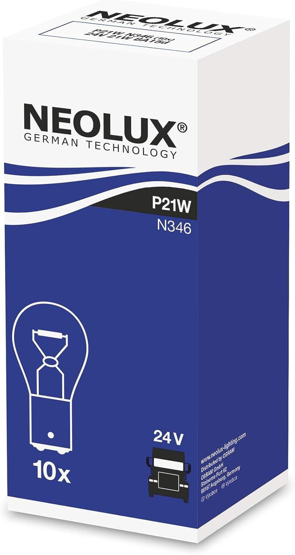 NEOLUX Standard P21W, lámpara de señal para camiones, N346, 24 V, 21 W, (paquete de 10 bombillas)