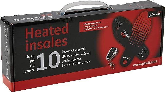 Glovii Semelles Batterie Chauff/ée T/él/écommand/é Noir-Rouge 35-46