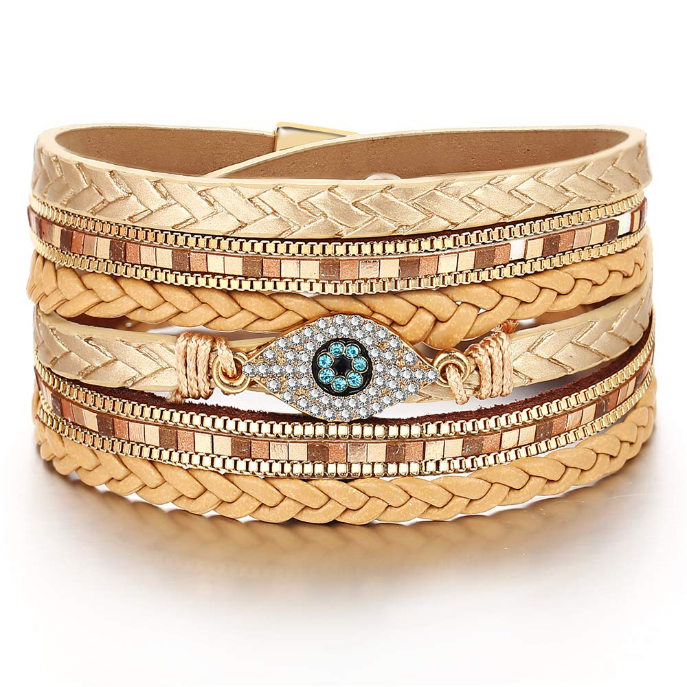 FINETOO Multi-Layer Wrap Leather Cuff Bracelet Magnetic Clasp Gorgeous Crystal Evil Eye Bangle Handmade Braided Wristbands Bracelets for Women,Girl Gifts by FINETOO