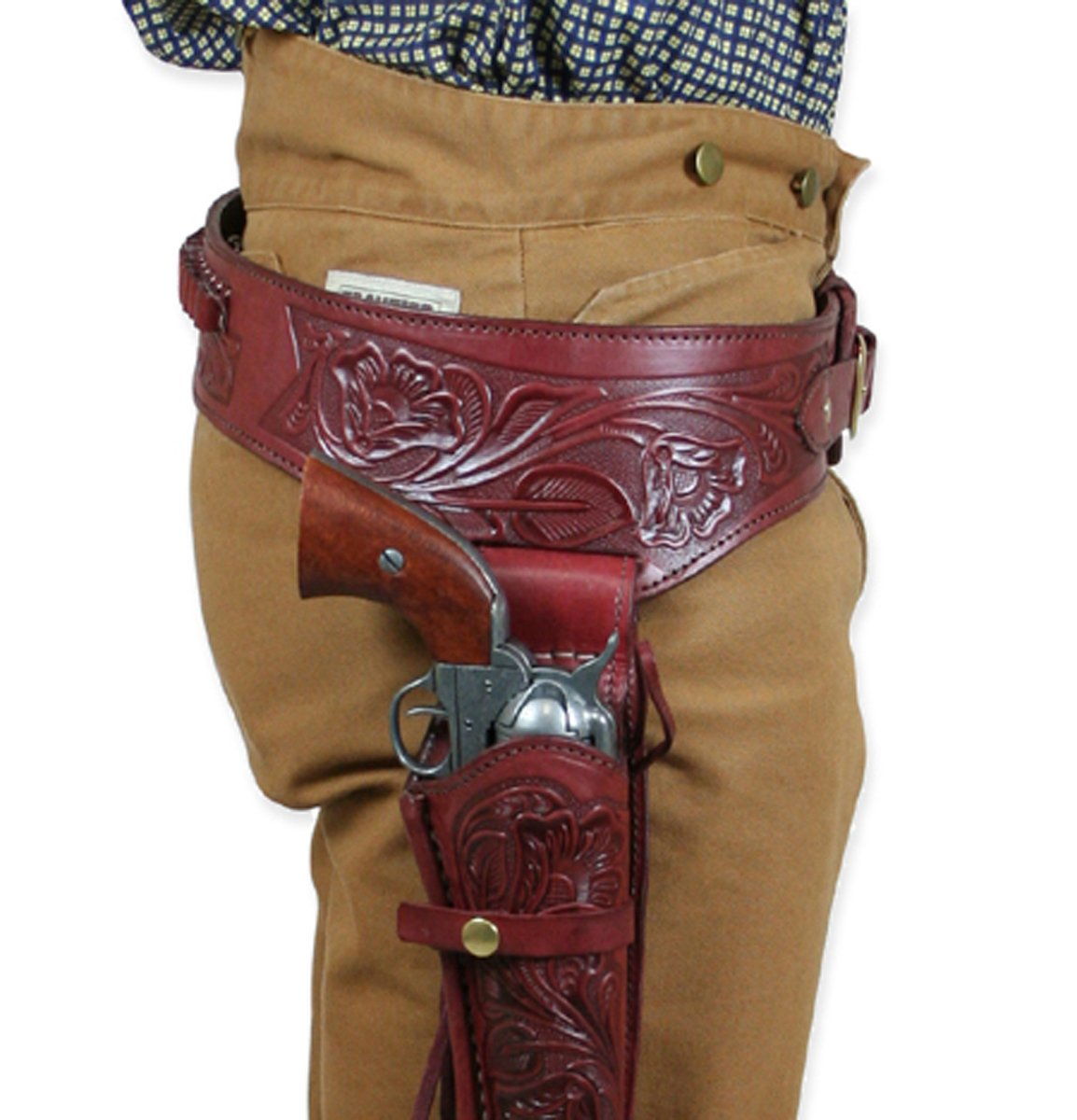 Historical Emporium Men's Right Hand Tooled Leather Western Gun Belt and Holster .44/.45 Cal 34 Auburn