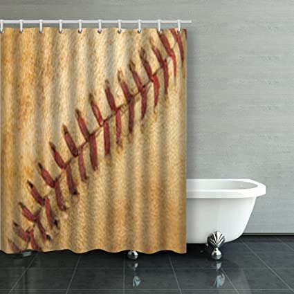 Shower Curtains Close Detail Vintage Baseballs Seams Softball Texture 60Wx72L Inches Home Decorative Waterproof Polyester Fabric