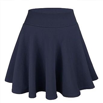 WinCret Rock Damen Basic Solid Röcke Mädchen Vielseitige Dehnbaren Faltenrock Mini Skater Rock