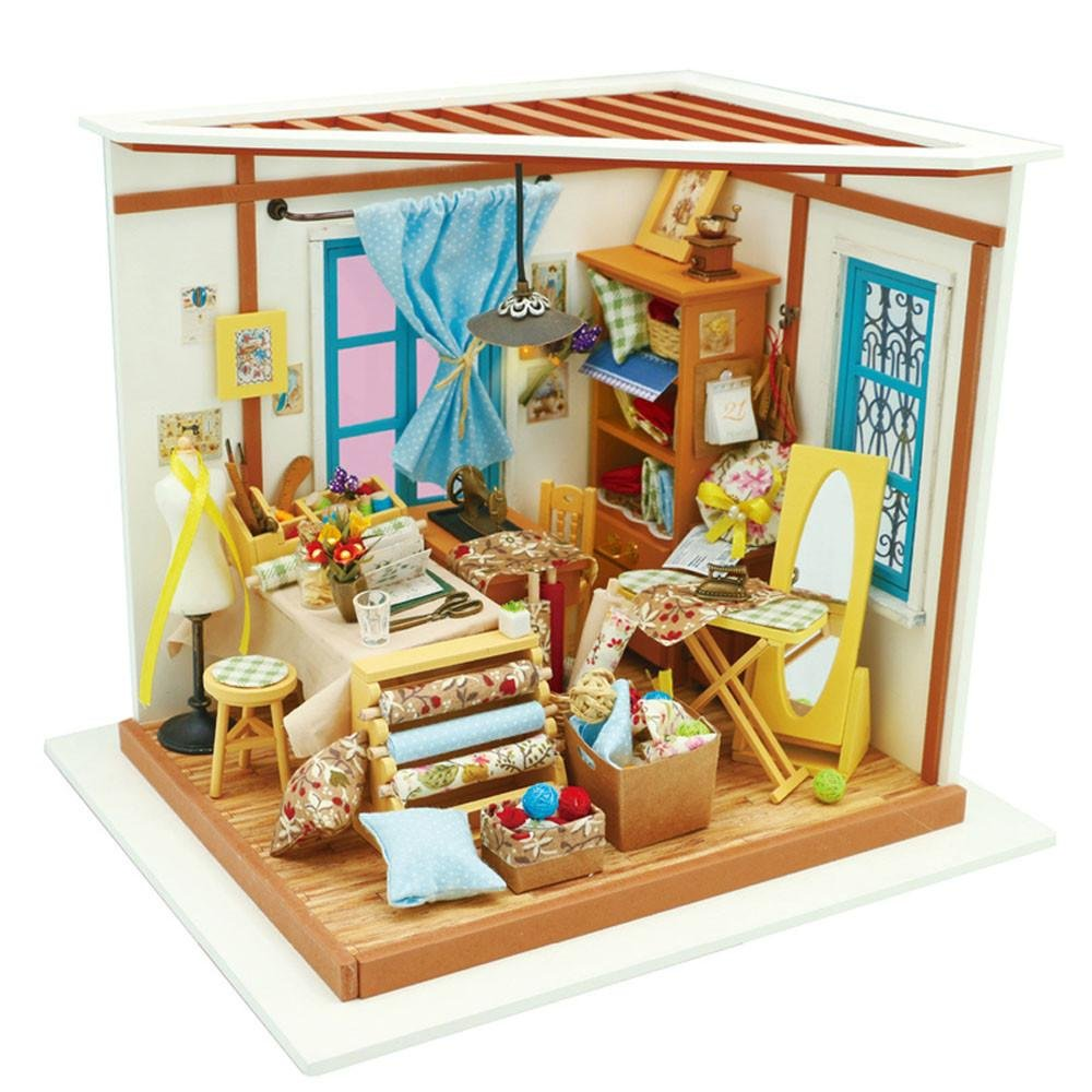 DIY Wooden Mini Toy House Kit   3D Wooden Puzzle  Model Building Set with LED Studio Gift Christmas Holiday Birthday