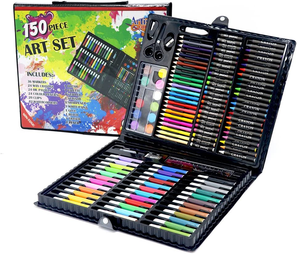 24 Piece Art Set In Display Box Set Crayons Eraser Sharper Pencil Colour Set