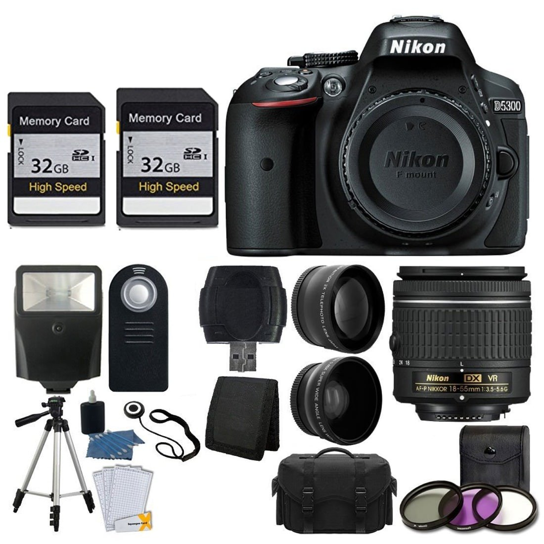 Nikon D5300 DSLR Camera + Nikon 18-55mm VR AF-P Lens + 64GB Memory Card + Telephoto & Wide Angle Lens + Wireless Remote + Flash + Valued KIT