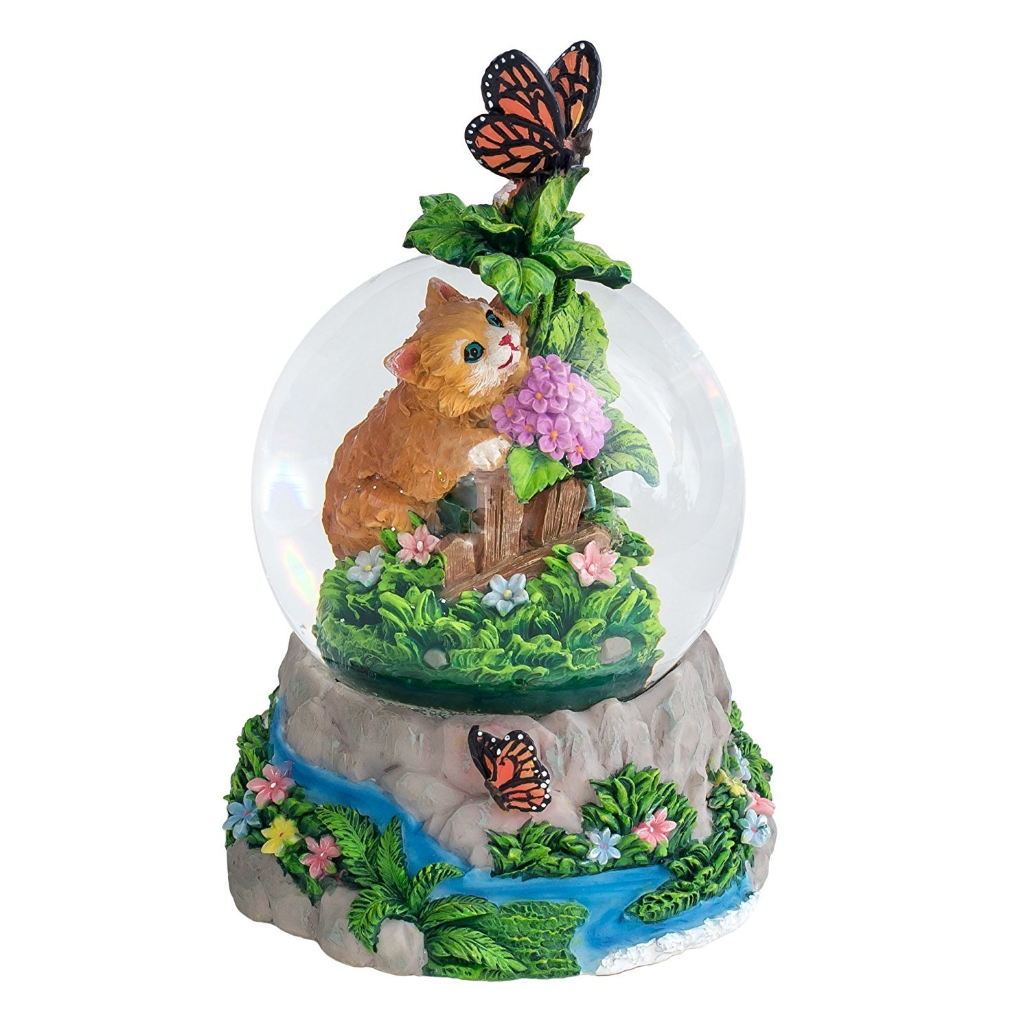 Kittens and Butterfly 100MM Resin Stone 3D Musical Water Globe Plays Tune Memory Cadona International Inc