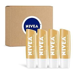 NIVEA Vanilla Buttercream Lip Care - All Day Moisturizing Lip Balm for Soft Lips - Pack of 4