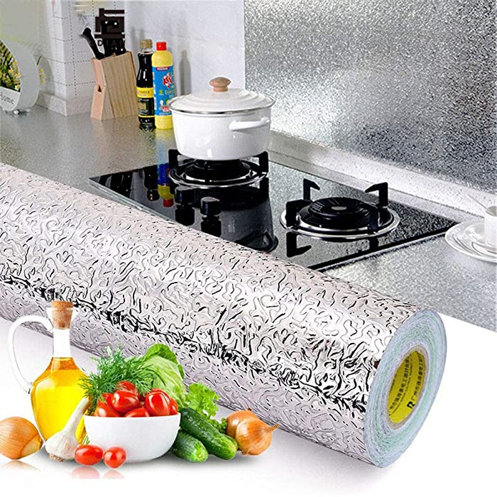 Kitchen Backsplash Wallpaper Stickers, Kitchen Stickers Self Adhesive Kitchen Aluminum Foil Stickers Oil Proof Waterproof Kitchen Stove Sticker -15.6 x117inc