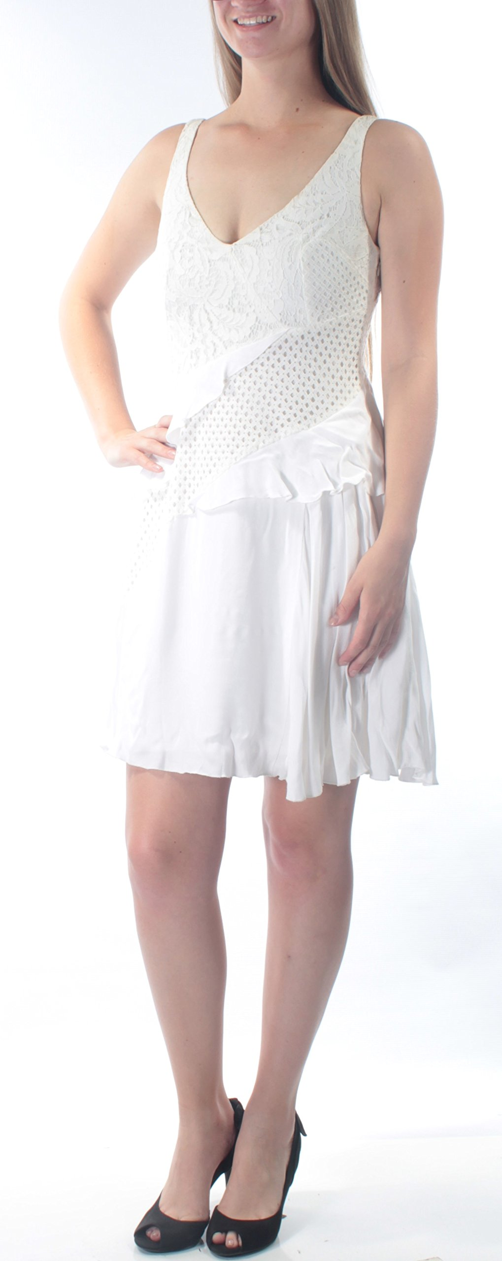 French Connection Women's Ripple Lace Dress, Summer White, 6