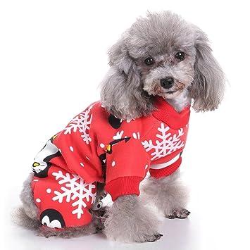 Ropa para Mascotas, Legendog Pijamas de Navidad para Perros Pingüino Copo de Nieve Impreso Ropa