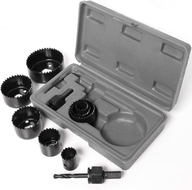 19 mm//22 mm//28 mm//32 mm//38 mm//44 mm//51 mm//64 mm Juego de 11 cortadores de sierra perforadora de 19 a 64 mm de madera y acero al carbono juego de brocas redondas circulares redondos