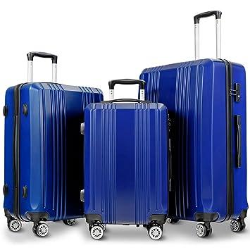 d1c9557964d8 Goplus Luggage 3 Piece Set Expandable Lightweight Hardside Suitcase for  Travel w/TSA Lock (Blue)
