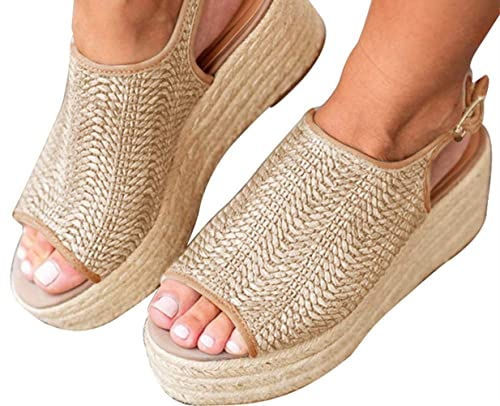 455731877d7 Snowchers Womens Espadrilles Platform Wedge Buckle Woven Peep Toe Sandals