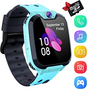 Kids Smartwatch Music Player - 1.54 inch HD Touchscreen Smart Watch Boys Girls with Camera Two-Way Call SOS Calculator Alarm Clock Games Music Watches for 4-12 Year Old [1GB SD Card Include] (Blue)