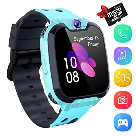 YENISEY Kids Smartwatch Music Player - 1.54 inch HD Touchscreen, HD Camera Two-Way Call SOS Anti-Lost Calculator, Wristband Games Watches for Boy ...