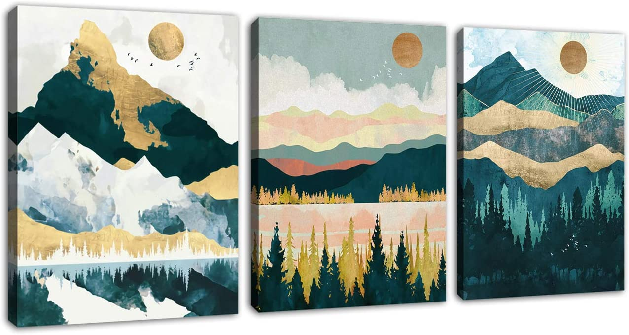 """Mountain Forest Wall Art Nordic Style Abstract Canvas Pictures Contemporary Wall Decor Canvas Artwork for Living Room Bedroom Home Office Decoration 12"""" x 16"""" x 3 Pieces"""