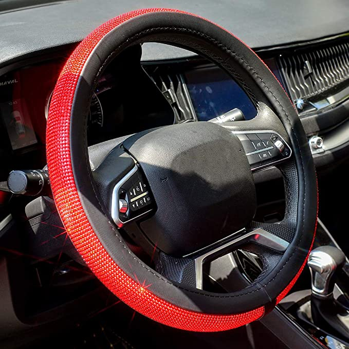 Bling Bling Crystal Rhinestones Full Coverage White Diamond Universal 15 Inch MRTIOO Diamond Steering Wheel Cover for Women Girls