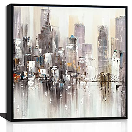 Canvaszon New York City Canvas Wall Art Brooklyn Bridge Painting Abstract Painting Pictures 3d Prints With Textures Office Wall Decor Contemporary