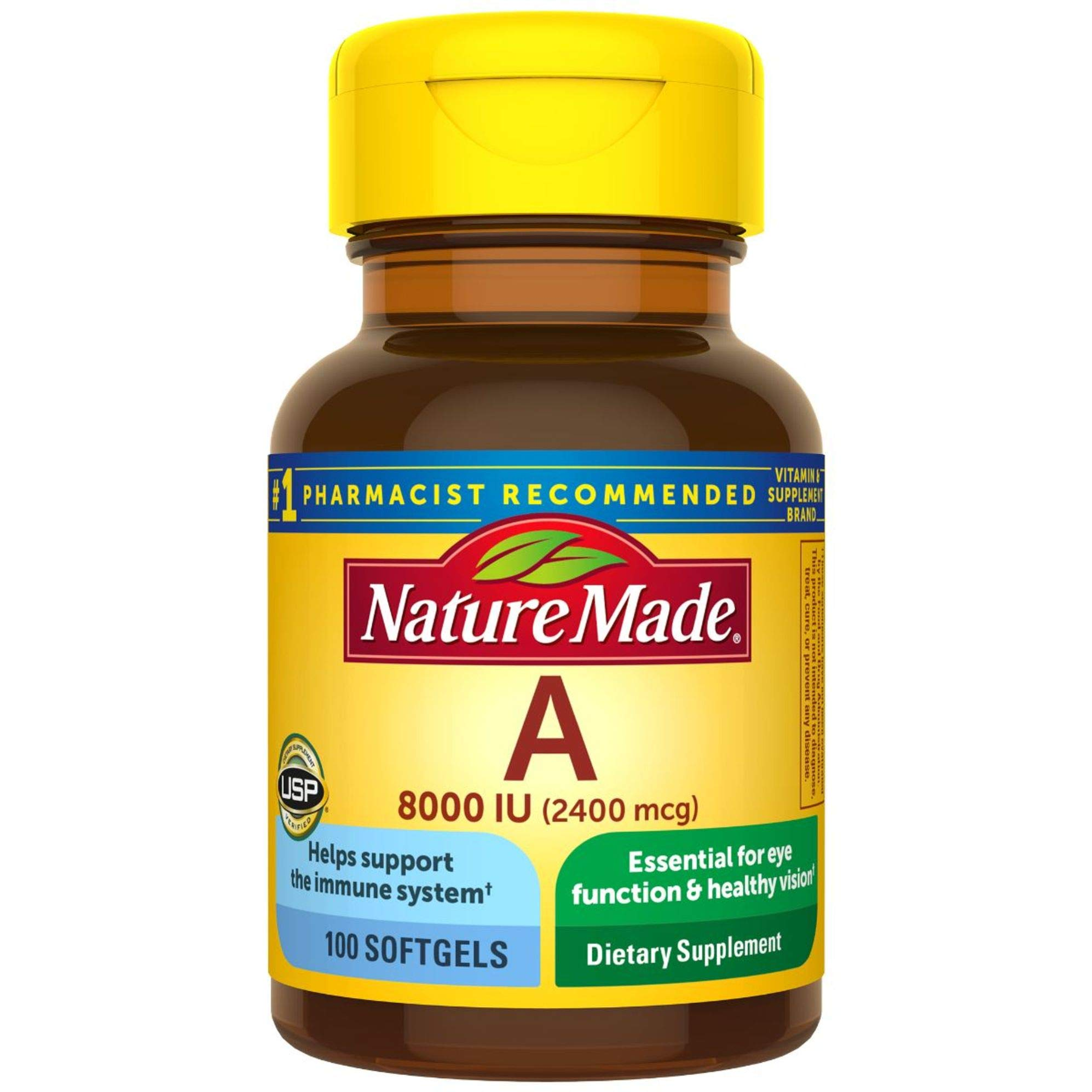 Nature Made Vitamin A 2400 mcg (8000 IU) Softgels 100 Count for Eye Health (Packaging May Vary)