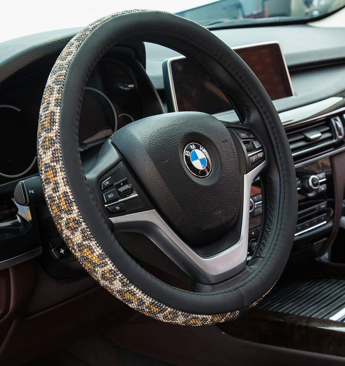 Semoss Comfort Grip Steering Wheel Cover Genuine Leather,Safe and Anti Slip,38cm 15 inch Brown and Black