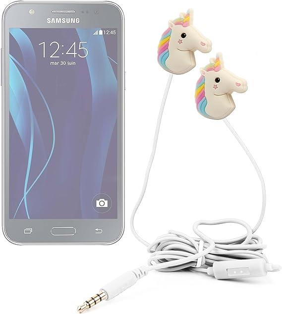 DURAGADGET Auriculares estéreo con diseño de Unicornio Arcoiris para Smartphone Samsung Galaxy A9, C5, C7, J MAX, J1 Ace Neo, J2, J3, J5,J7, On7, On8, Wide 5.5