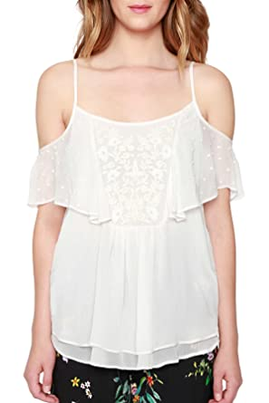 8146b72025f69 Willow   Clay Embroidered Cold Shoulder Tank Top Blouse Ivory ...