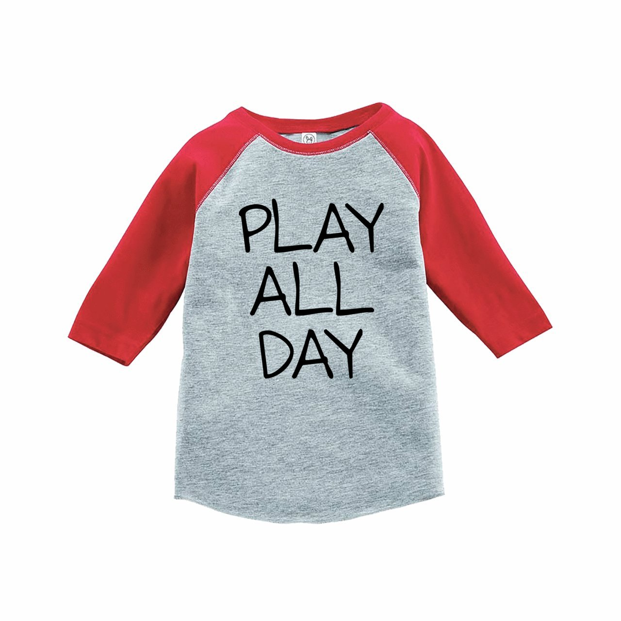 7 ate 9 Apparel Funny Kids Play All Day Baseball Tee Red