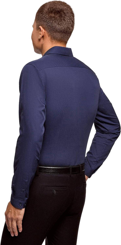 oodji Ultra Hombre Camisa B/ásica de Manga Larga