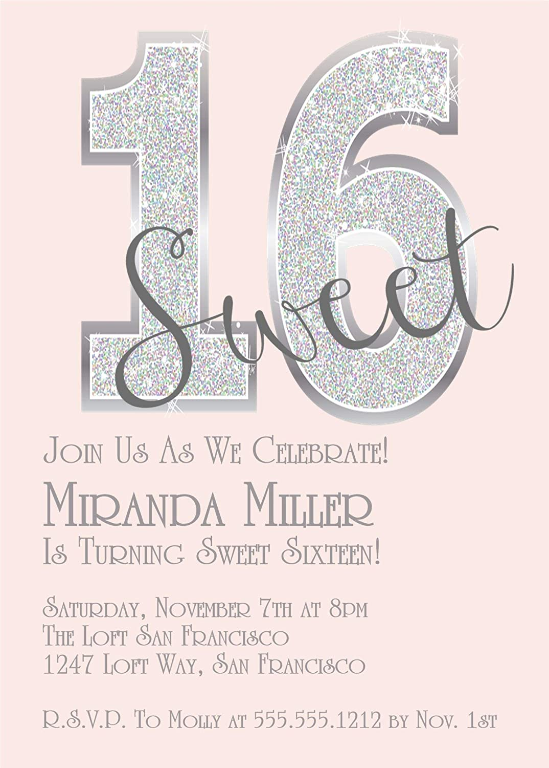 Amazon Pink Diamonds Sweet 16 Birthday Party Invitations Bling Handmade