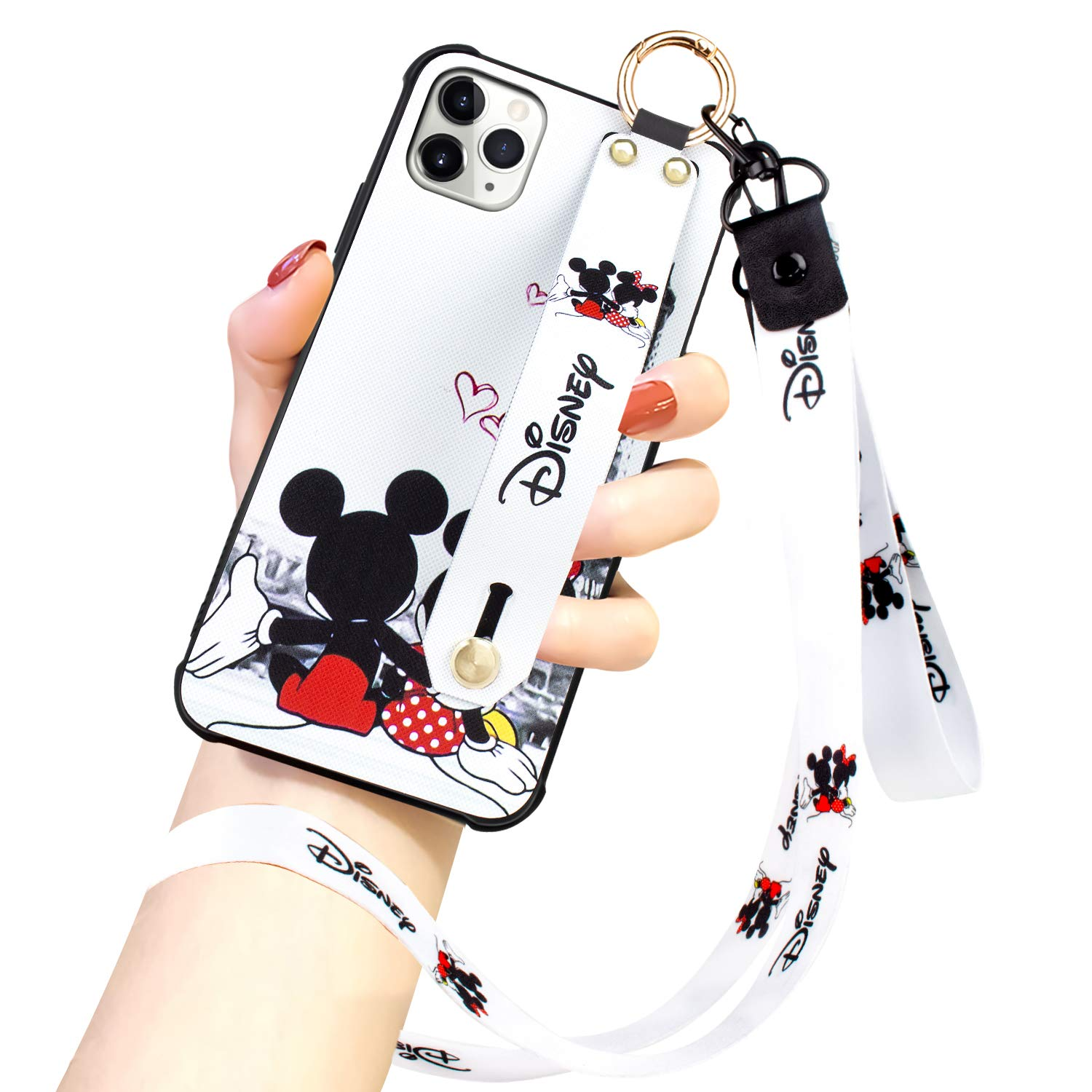 DISNEY COLLECTION iPhone 11 Pro Max Case, Disney Mickey Couple Street Fashion Wrist Strap Band Protector Phone Cover Full-Body Bumper Lanyard Case for iPhone 11 PRO MAX 6.5 Inch 2019