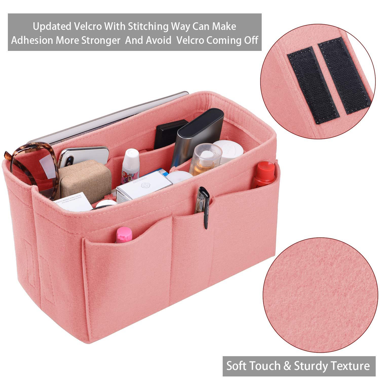 Purse Organizer Insert, Felt(3MM) Fabric Bag Organizer for LV Neverfull, LV Speedy, Purse Handbag Tote Bag, 3 Sizes, 8 Colors (large, Brush Pink)