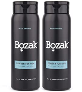 Bozak Original Cooling Body Powder for Men - 4 oz. Talc-Free, Absorbs Sweat, Stops Chafing, Keeps Skin Dry - Antifungal, Jock Itch Defense Deodorant with Menthol - 2 pack