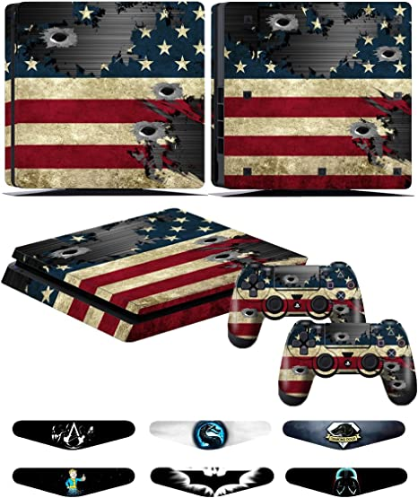 Skins Stickers for PS4 Slim Controller - Decals for Playstation 4 Slim Games - Cover for PS4 Slim Console Sony Playstation Four Accessories with Dualshock 4 Two Controllers Skin - Battle N Strips: Amazon.es: Videojuegos