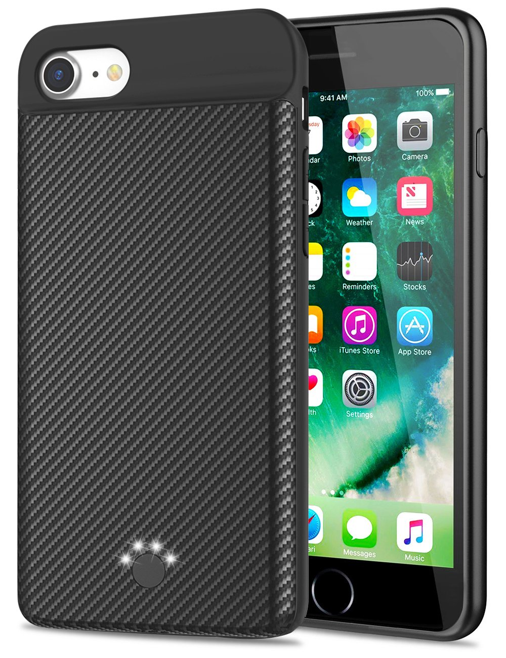 [Upgraded] iPhone 8/7 Battery Case,Emishine 3000mAh Ultra Slim External Battery Case for iPhone 8/7 / 6 / 6S, Portable Charging Case Charged by Lightning Cable (Black-4.7'')