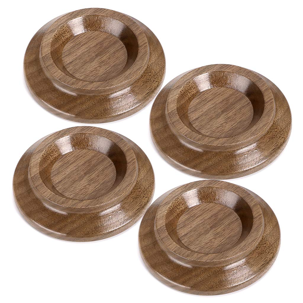 Skelang Piano Caster Cups Black Walnut Hardwood Furniture Wheel Caster Cups with Non-Slip EVA Protect Floor Carpet for Upright Piano