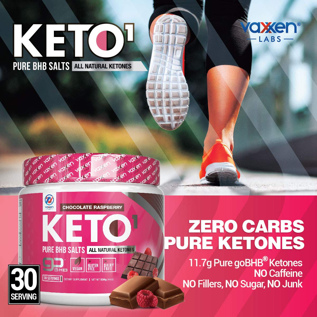 Exogenous Ketones Supplement with Beta Hydroxybutyrate BHB Salts for Ketogenic Diet - Keto Powder Drink to Help Reach Ketosis, Weight Control, Reduce Stress, Boost Energy (Chocolate Raspberry 30 SRV) by Vaxxen Labs