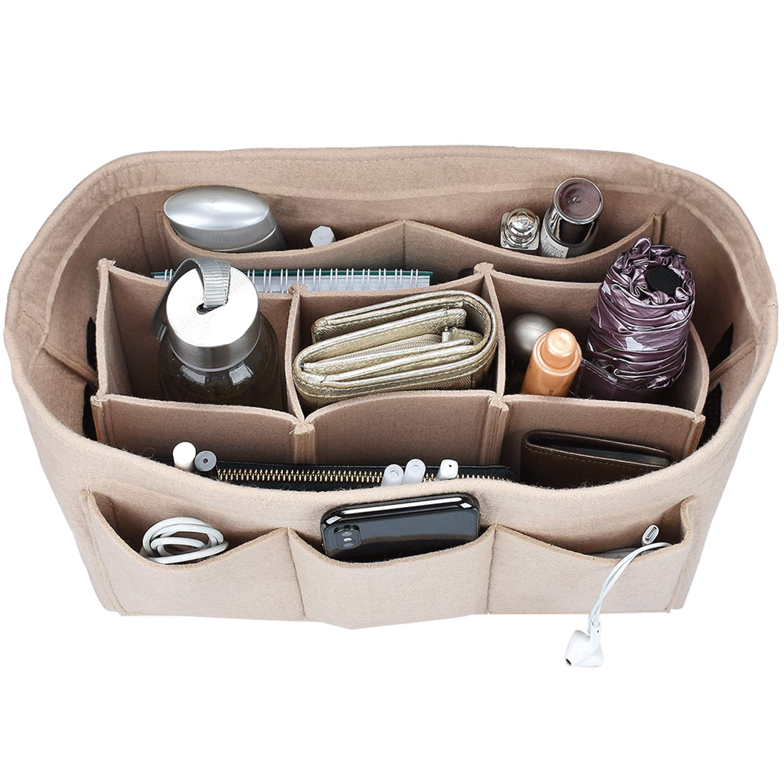 Felt Purse Insert Organizer, Handbag organizer, Bag in Bag for Handbag Purse Tote, Diaper Bag Organizer, Stand on Its Own, 12 Compartments, 3 Sizes (Medium, Beige)