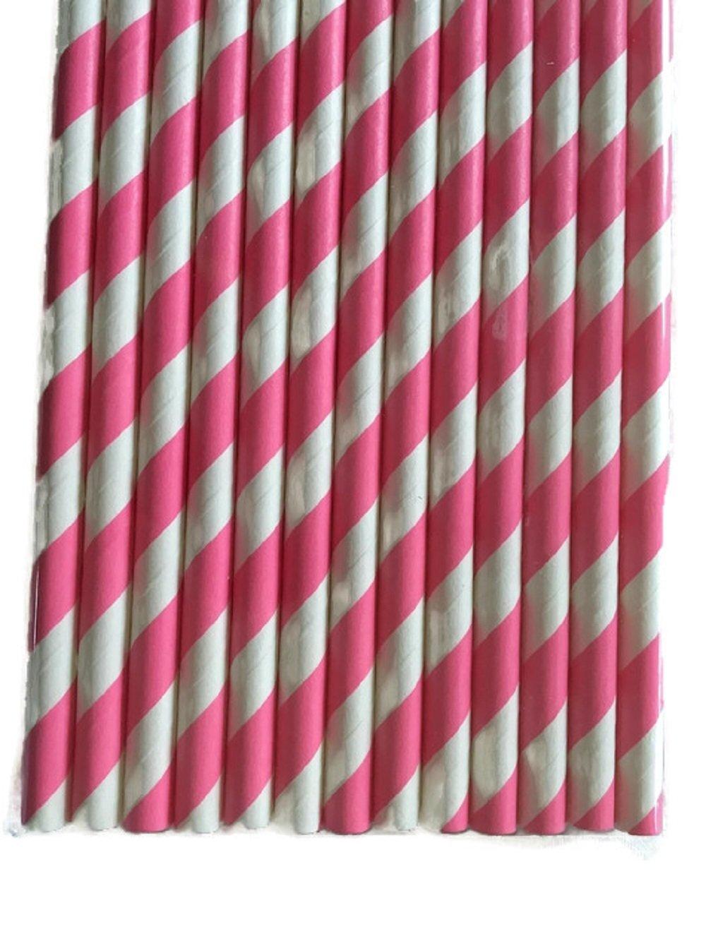 Bubblegum rosa/blanco de rayas juego de 100 Count Tamaño 7 3/4 (diseño de rayas papel pajita de incienso palos para Cake Pop moldes para Cake pops piruletas ...