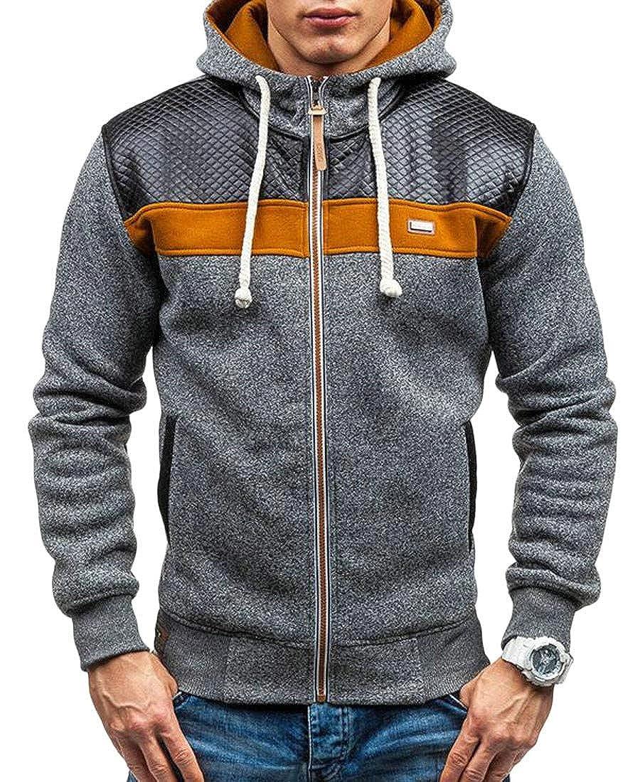 XTX Mens Autumn Contrast Color Hooded Zipper Sport Coat Jacket Sweatshirt