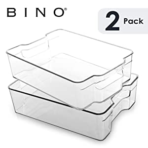 BINO Stackable Plastic Organizer Storage Bins, Large - 2 Pack - Pantry Organization and Storage Refrigerator Organizer Bins Fridge Organizer Freezer Organizer Pantry Organizer Pantry Storage